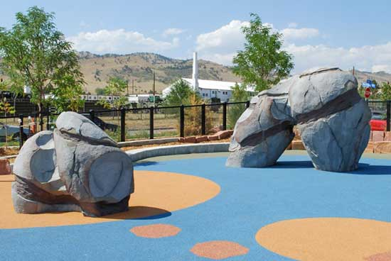 Moonstone sculpted climbing structures for playgrounds and parks
