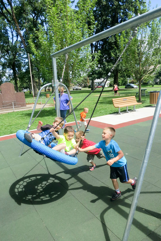 Basket Swing set on playground