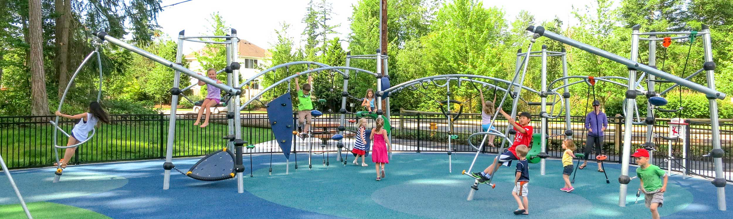 Playground park equipment with rubber safety tiles