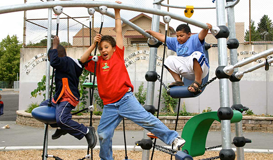 Rope climber and swings on school playground