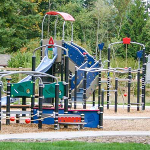 Play towers with multiple levels for parks and playgrounds