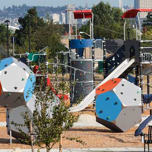 Modern giant play blocks and towers at park
