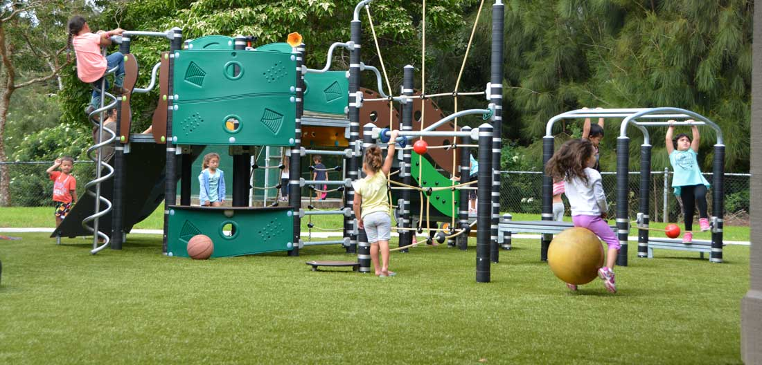 Turf for safe surfaces under playground equipment