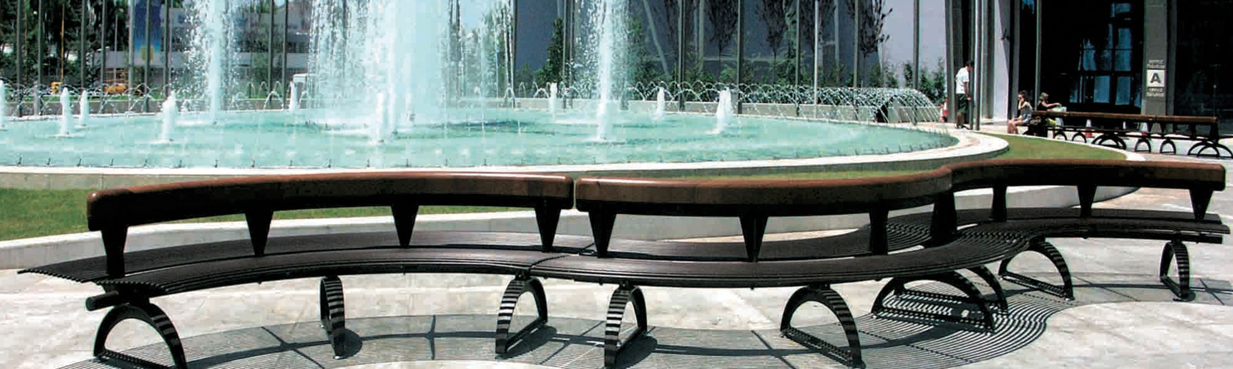 Park and site furnishings with seating for public spaces