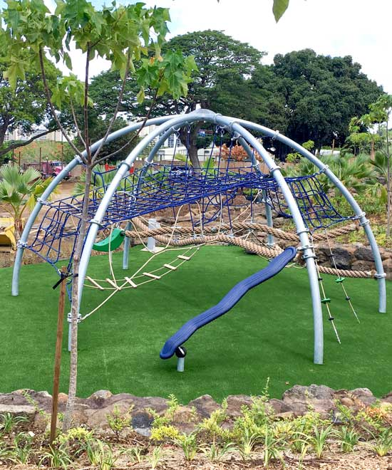 Dome structure for playground on safety surfacing turf