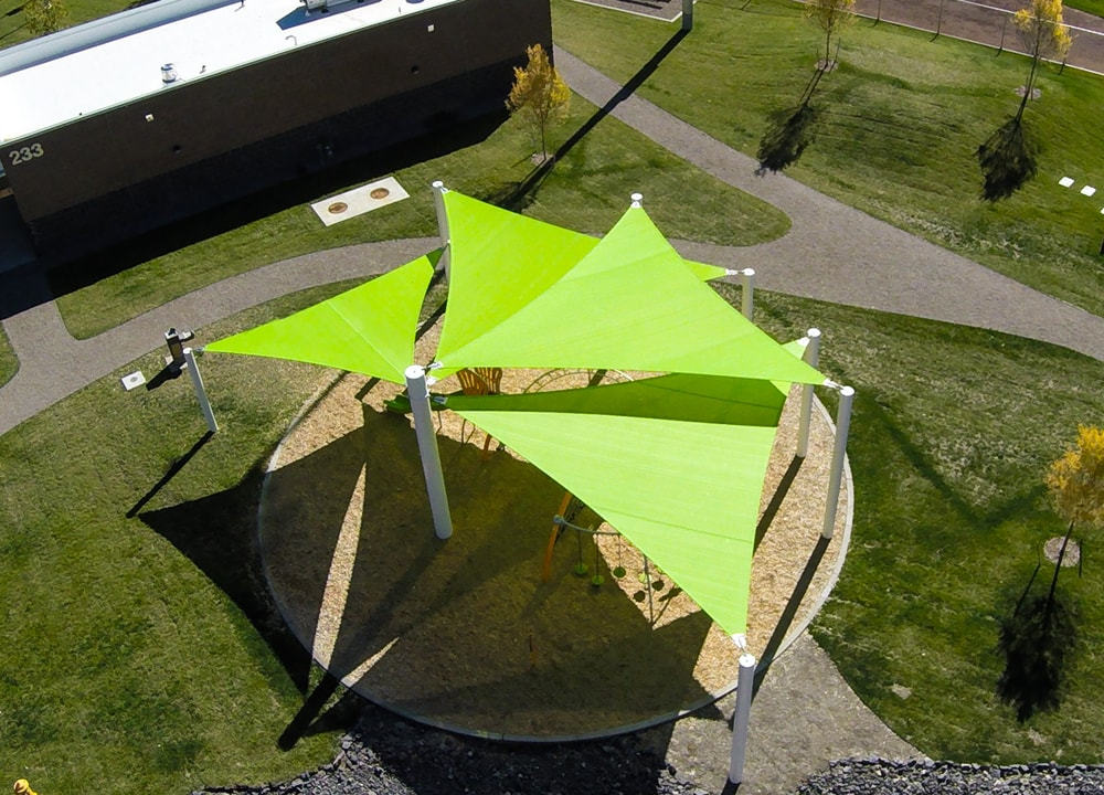 Commercial sail style shade system for playground