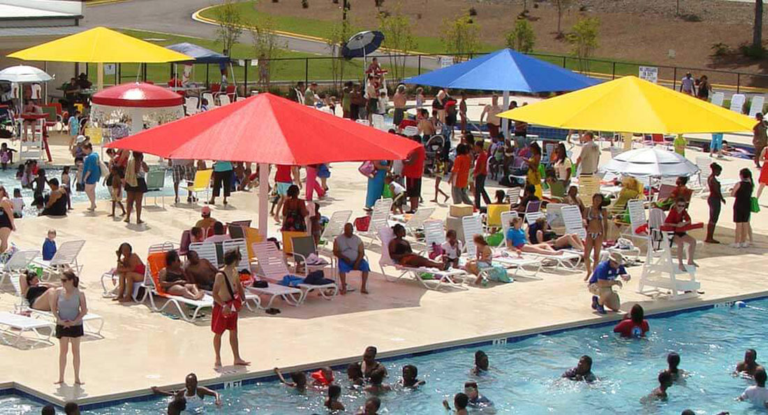 Shade systems for swim areas, parks and playgrounds