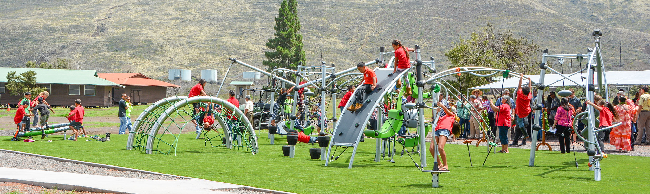Hawaiian Park and Playground with KOMPAN play structures distributed by HIghwire