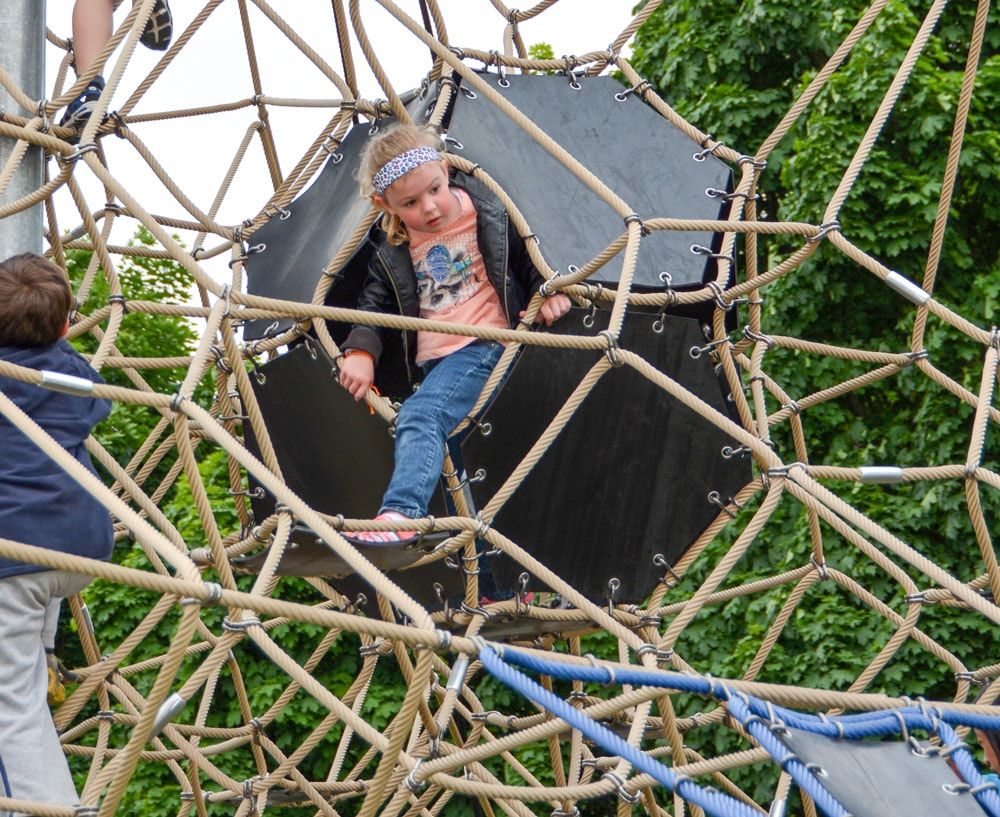 Climbing net play structure for the commercial playground at the Seattle Center