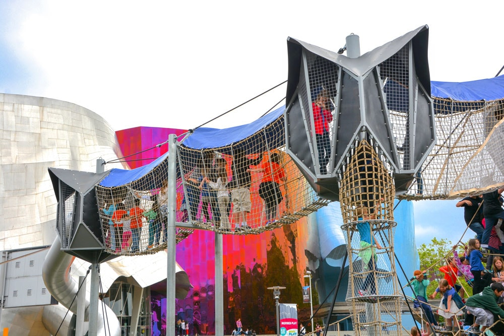 Highest playground skywalk of its kind at the Seattle Center Playground. Commercial playground equipment from KOMPAN